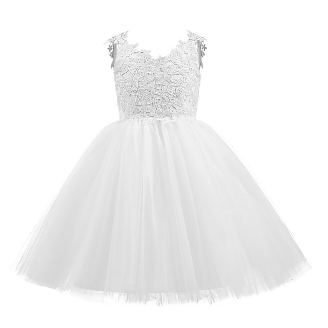 Princesse Court Mariage / Communion / Anniversaire Robes de demoiselle d'honneur - Taffetas / Tulle Sans Manches Col en V avec Noeud(s) / Appliques