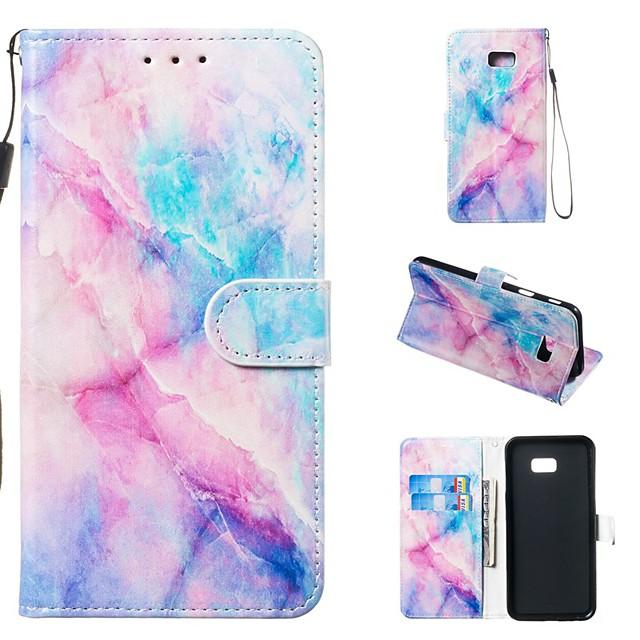 غطاء من أجل Samsung Galaxy J8 (2018) / J7 (2017) / J6 (2018) محفظة / حامل البطاقات / مع حامل غطاء كامل للجسم حجر كريم قاسي جلد PU