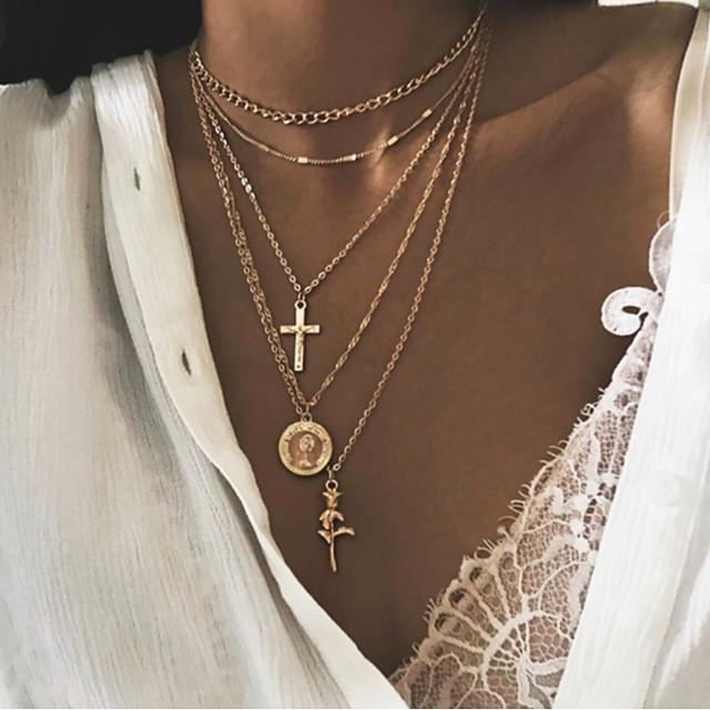 Per donna Collana a strati Croce Etnico Di moda Cromo Oro Argento 52 cm Collana Gioielli 1 pc Per Strada Serata