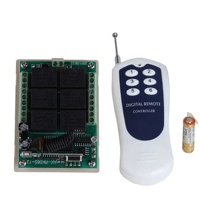 DC12V 6CH RF Wireless Remote Control Switch /10A Relay Receiver / Learning code 6 way /Momentary /Toggle /Latched can change 433mhz
