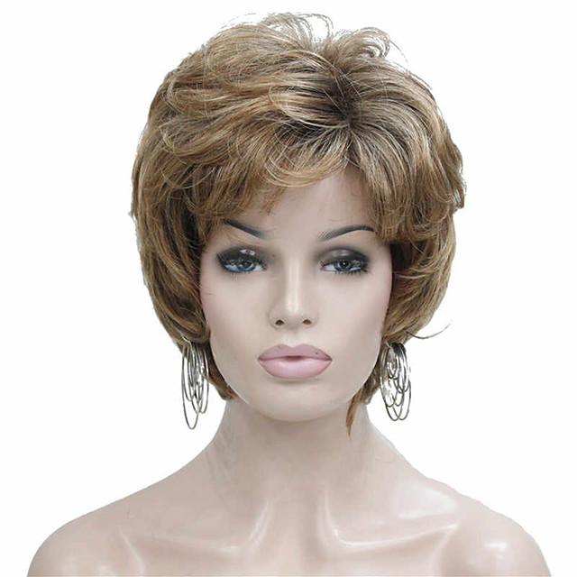 Perruque Synthétique Curl serré Coupe Dégradée Perruque Blond Court Or clair Cheveux Synthétiques 6~8 pouce Femme Nouvelle arrivee Blond