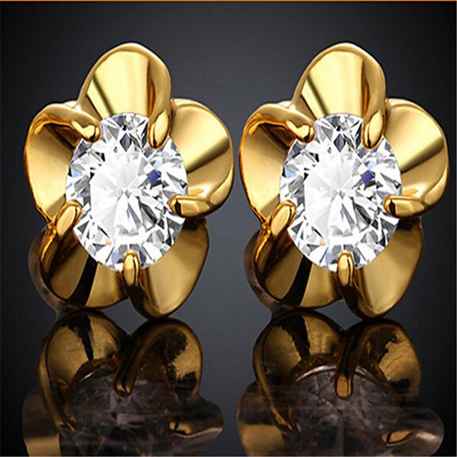 Dames Kubieke Zirkonia Oorknopjes Klassiek Bloemblad Stijlvol Verguld Gesimuleerde diamant oorbellen Sieraden Goud Voor Feest / Avond Verjaardag 1 paar