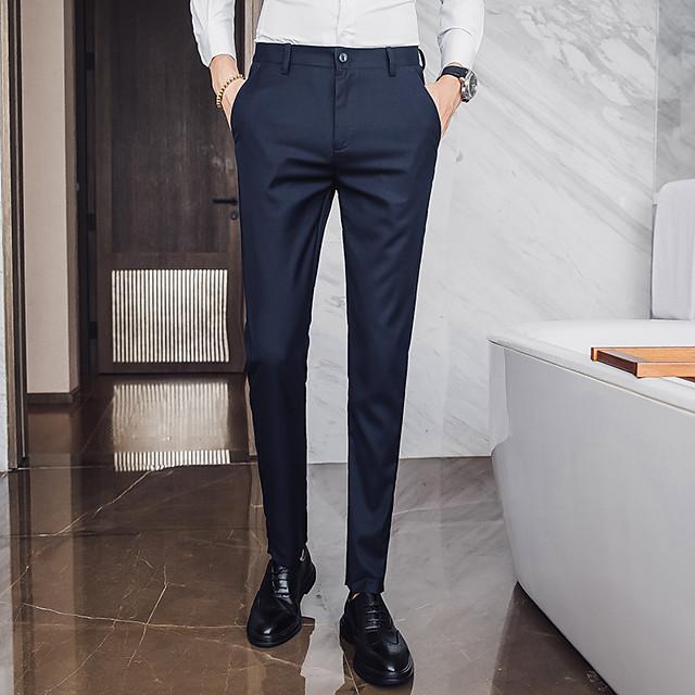 Homme basique pantalon de costume Pantalon Couleur Pleine Toute la longueur Noir Kaki Bleu Marine