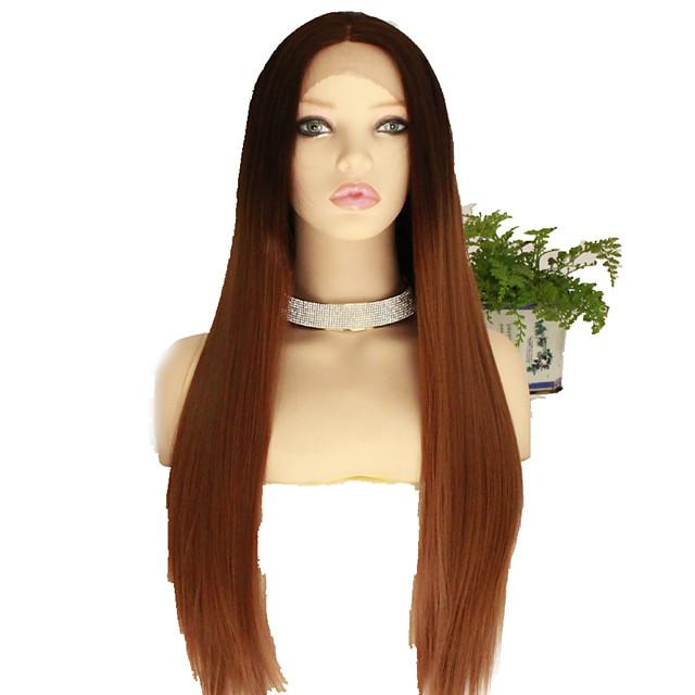 Perruque Synthétique Droite naturelle Coupe Dégradée Perruque Très long Noir / Brun Cheveux Synthétiques 68~72 pouce Femme Nouvelle arrivee Marron