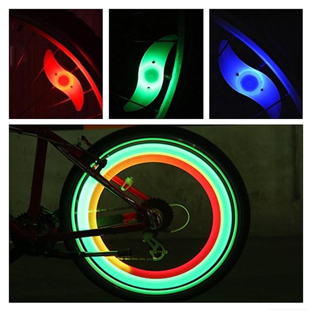 LED Luci bici luci di sicurezza luci della rotella Luci per bici Ciclismo da montagna Bicicletta Ciclismo Impermeabile Modalità multiple Sveglia controluce Batteria CR2032 Ciclismo moto