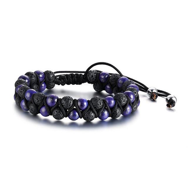 Bracelet à Perles Homme Rétro résine Résine Foi Mode Bracelet Bijoux Bleu de minuit Violet Arc-en-ciel Forme Géométrique pour Cadeau Quotidien