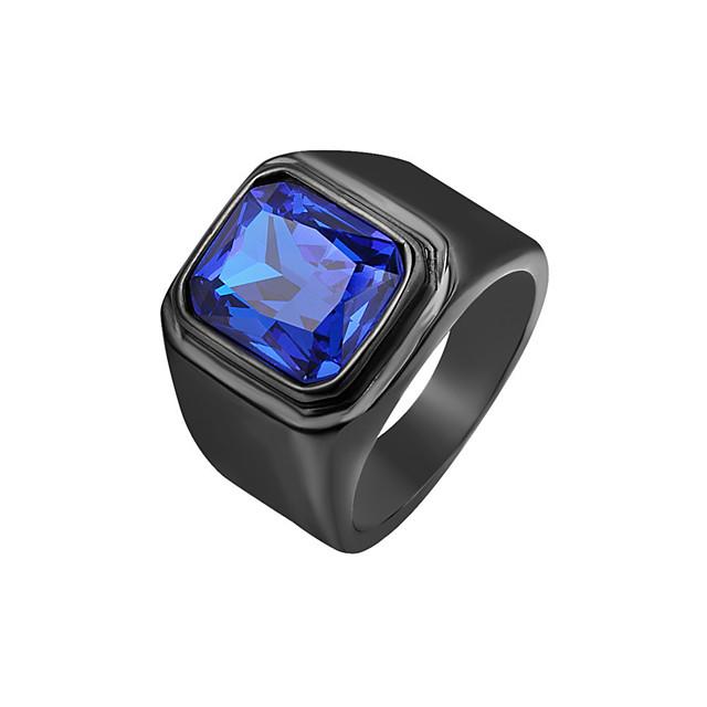 แหวน สไตล์วินเทจ แดง ฟ้า สีน้ำตาลอ่อน Titanium Steel พื้นฐาน ลำลอง / สปอร์ต Rock 1pc 7 8 9 10 11 / สำหรับผู้ชาย