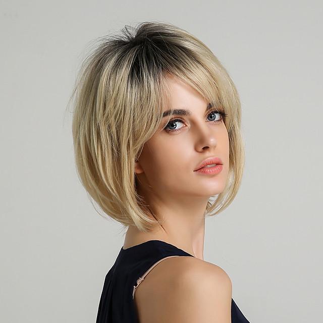 perruque synthétique pour femmes coupe de cheveux en couches droite naturelle coiffures courtes 2020 avec frange perruque ombre cheveux synthétiques courts 10 pouces blond doré brun # 16