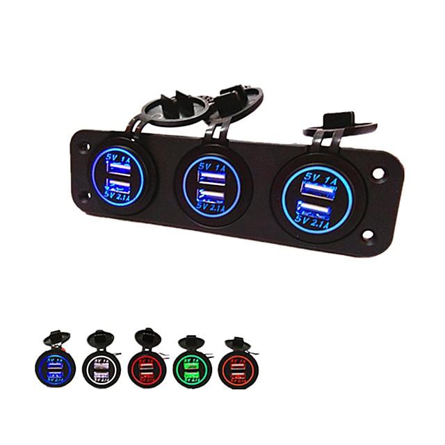 многопортовое зарядное устройство 12v usb мобильное автомобильное зарядное устройство 5v 2.1a двойное зарядное устройство usb зарядное устройство qc 3.0 3-портовый светодиодный вольтметр быстрый 12v-2