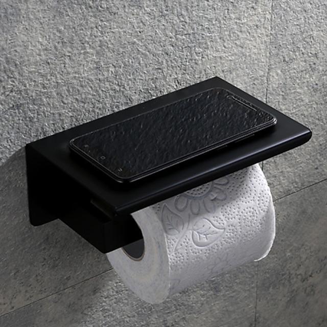 Porte-papier hygiénique mural Cintre en rouleau de papier hygiénique en acier inoxydable avec étagère de rangement pour téléphone portable noir mat 1pc