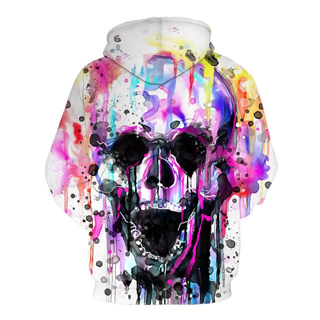 Homme Sweat à capuche Géométrique 3D Crânes Capuche Simple Chic de Rue Pulls Capuche Pulls molletonnés Arc-en-ciel