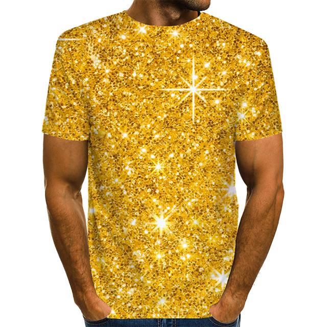 Homme T shirt Graphique 3D Imprimé Manches Courtes Décontracté Hauts Chic de Rue Exagéré Dorée