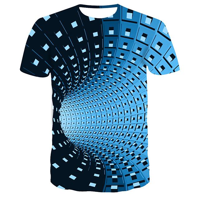 Men's T shirt Graphic Optical Illusion Short Sleeve Casual Tops Streetwear Punk & Gothic Black Blue Purple