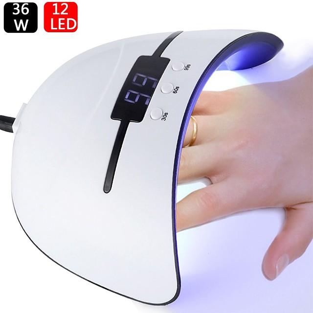 36w led / uv lampă de unghii pentru manichiură lcd display unghie uscător gel lustruire senzor auto cu instrumente de sincronizare