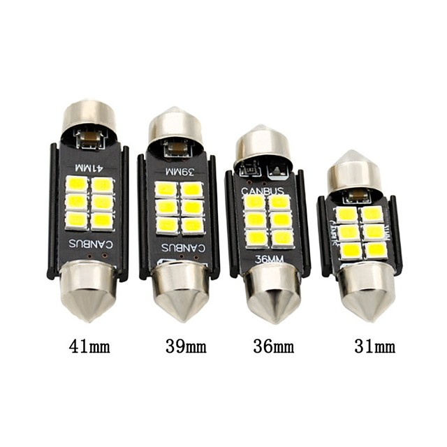 2pcs voiture led festoon ampoule 31mm 36mm 39mm 41mm canbus c5w 6 smd 3030 led lampe dôme blanc pour la lumière intérieure plaque minéralogique légère marqueur de côté