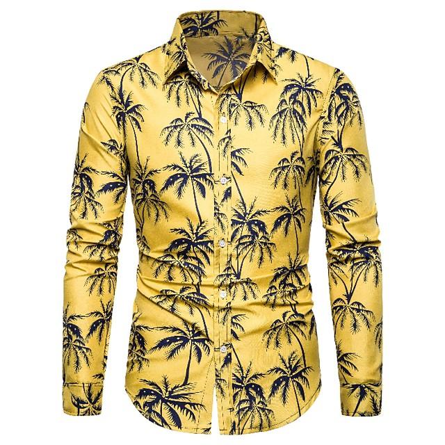 남성용 셔츠 그래픽 기하학 플로럴 프린트 긴 소매 캐쥬얼 탑스 면 빈티지 스트리트 쉬크 옐로우