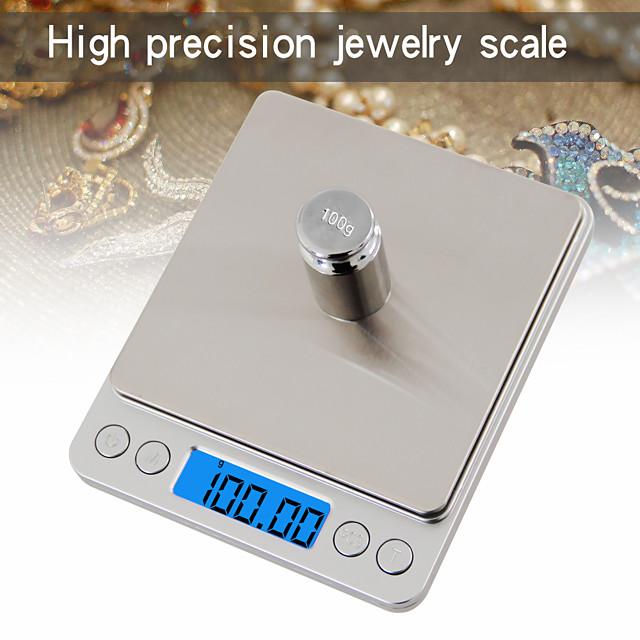 Bilancia digitale da 500 g / 0,01 g con display LCD automatico bilancia da cucina digitale scala mini bilancia da tasca digitale con 2 vassoi