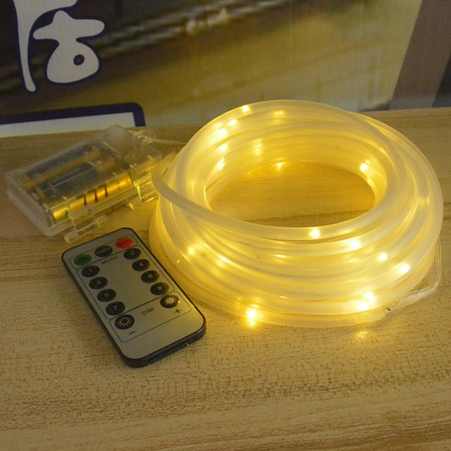 10m Guirlandes Lumineuses 100 LED 1 set Blanc Chaud Blanc Plusieurs Couleurs Imperméable Soirée Décorative Piles AA alimentées
