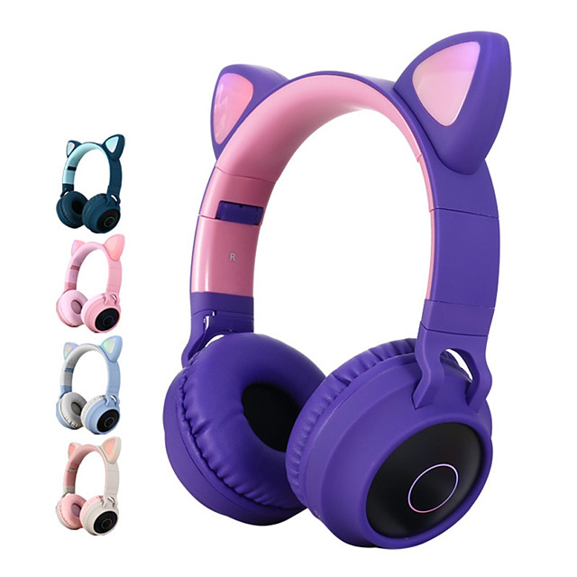 Litbest Color Led Cat Ear Headphones Bluetooth 5 0 Headset Support Tf Card 3 5mm Audio Input Fm Function With Mic Mp3 Music Player Over Ear Foldable Party Street Fashion 7636321 2020 25 29