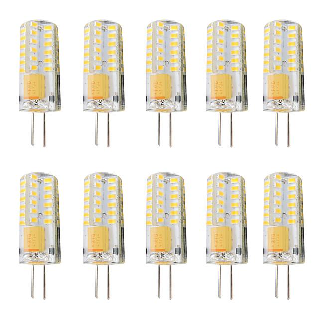 10stk 3 W LED-lamper med G-sokkel 300 lm G4 T 48 LED perler SMD 3014 Mulighet for demping Varm hvit Hvit 12-24 V