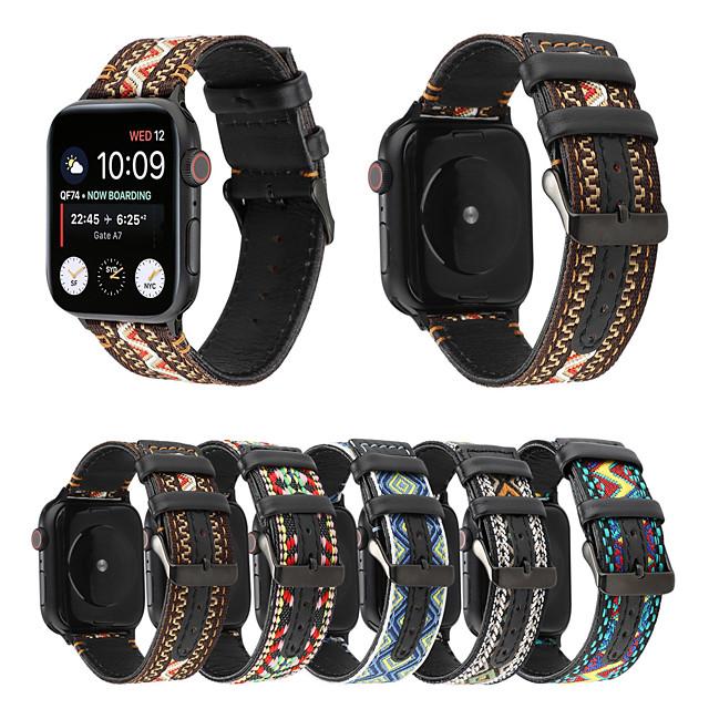 för apple watch serie 4/3/2/1 nationell vind nylon äkta läder armband män / kvinnor för apple watch band 44mm / 40mm / 38mm / 42mm