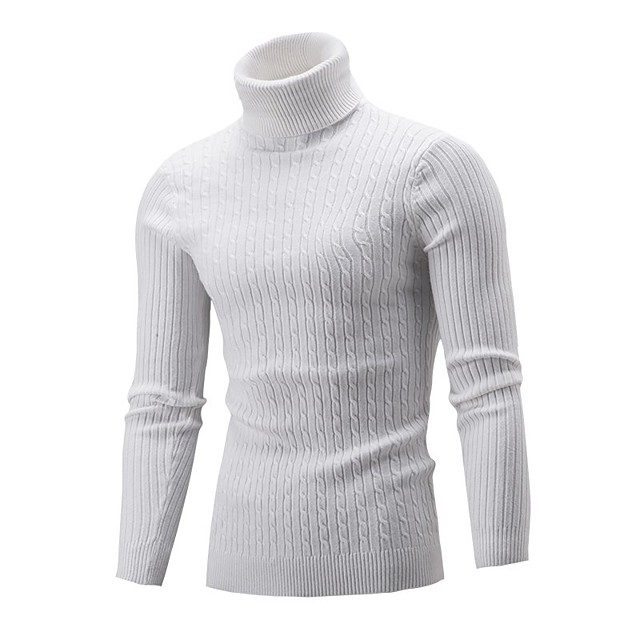 Homme Couleur Pleine Pullover Coton Manches Longues Pull Cardigans Col Roulé Automne Hiver Blanche Noir Vin