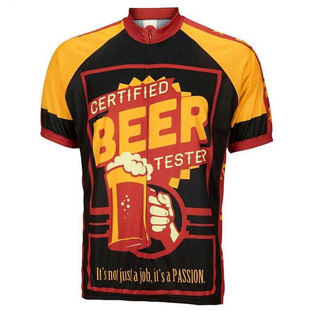 21Grams Homme Manches Courtes Maillot Velo Cyclisme Noir / jaune. Rétro Nouveauté Bière Oktoberfest Cyclisme Maillot Hauts / Top VTT Vélo tout terrain Vélo Route Respirable Séchage rapide Evacuation