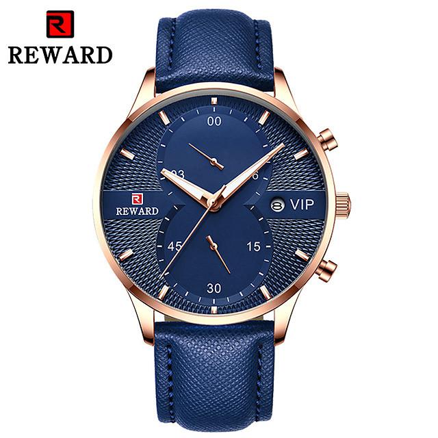 Bărbați Ceas Elegant Quartz Stil Oficial Stil modern Clasic Calendar Analog Negru Albastru Auriu / Piele Autentică / Cronograf / Iluminat / Piele Autentică / Mare Dial