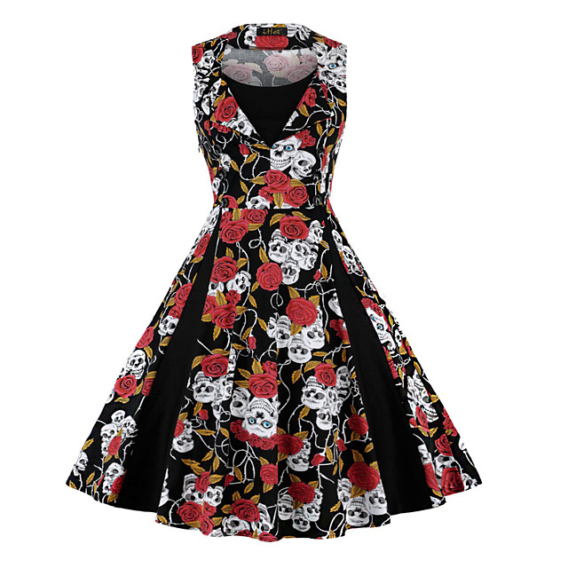 빈티지 스타일 휴가 드레스 드레스 졸업 파티 드레스 여성용 스판덱스 코스츔 화이트 + 블루 / 레드 + 블랙 / 레드 - 화이트 빈티지 코스프레 3/4 길이 소매