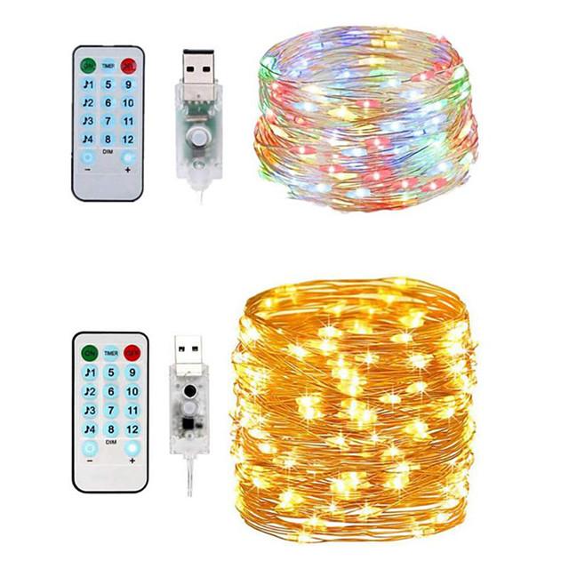 11m 스트링 조명 리모콘 100 LED 2pcs 따뜻한 화이트 화이트 방수 컷테이블 뉴 디자인 5 V