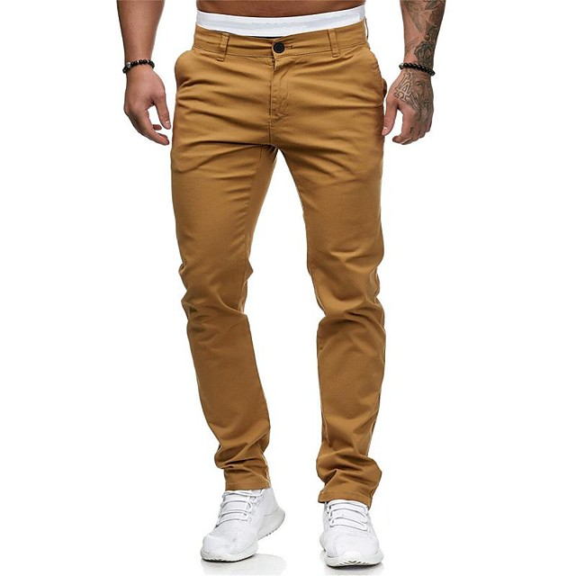 Men's Basic Streetwear Chinos Pants Solid Colored Full Length White Black Red Khaki Gray