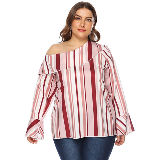 Dames Grote maten Blouse Overhemd Gestreept Lange mouw Eén-schouder Tops Basis Top Rood