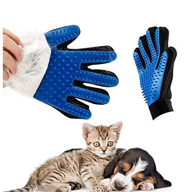 Kediler kedi için nicrew eldiven tımar pet köpek saç deshedding için fırça tarak eldiven pet köpek parmak temizleme masaj eldi ...