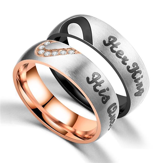 Pentru cupluri Inele Cuplu Inel 1 buc Negru Roz auriu Teak Circular Vintage De Bază Modă Promisiune Bijuterii Coroane Cool