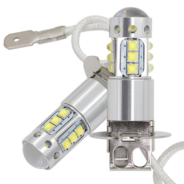 2ピース車H3 LEDフォグランプDRL 16SMD LEDクリーチップフォグランプ80W 16LEDテールライトDRLフォグ電球12-24V