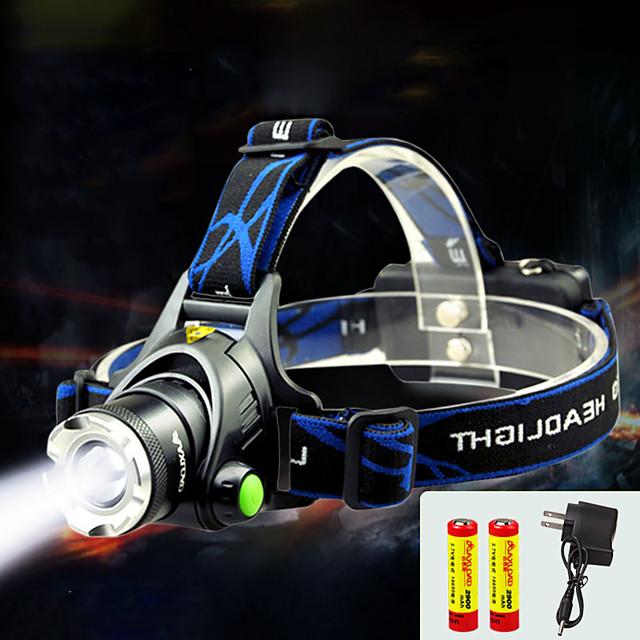 TD286 Lampes Frontales Phare Avant de Moto Imperméable Fonction Zoom 800 lm LED LED 1 Émetteurs avec Piles et Chargeur Imperméable Fonction Zoom Rechargeable Faisceau Ajustable Camping / Randonnée