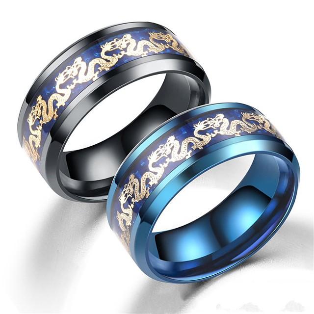 Band Ring Negru Albastru Teak Dragon De Bază Vintage Modă 1 buc 6 7 8 9 10 / Pentru femei / Bărbați / Inel / Tail Ring