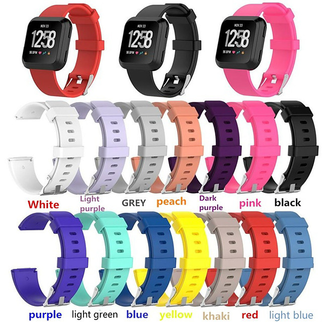 Pasek do zegarka do silikonowego paska na nadgarstek Fitbit Versa Classic Fitbit Classic (l: 180 mm-220 mm, s: 140 mm-180 mm)