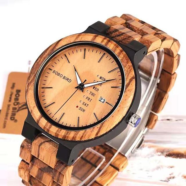สำหรับผู้ชาย นาฬิกาตกแต่งข้อมือ นาฬิกาควอตซ์ญี่ปุ่น สไตล์ Wood ทำด้วยไม้ อะนาล็อก-ดิจิตอล สีดำ สีน้ำตาล / หนึ่งปี