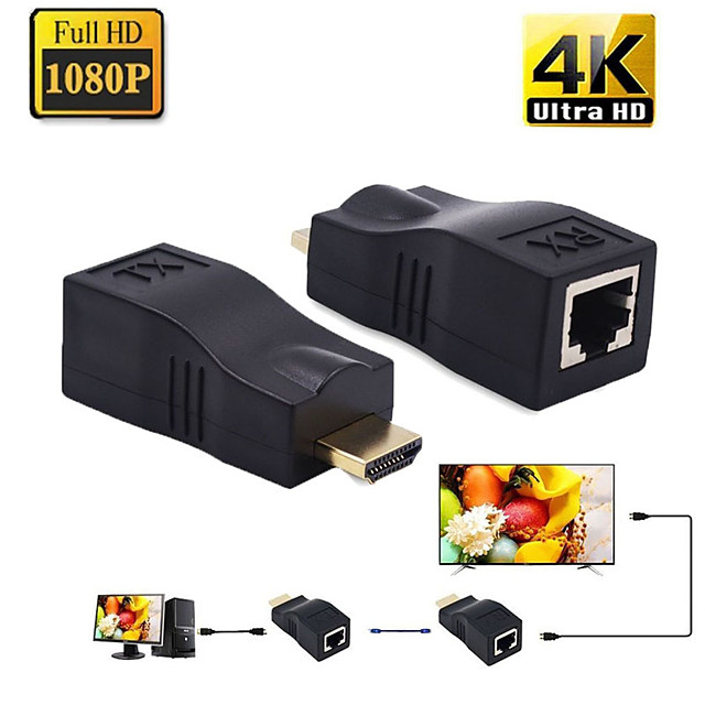 4k hdmi extender mini rj45 יציאות ל- 30 m hdmi הרחבה מעל חתול 5e / 6 utp lan ממיר כבל ethernet עבור hdtv
