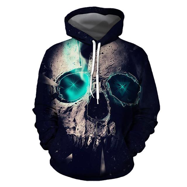 Herre Plusstørrelser Hattetrøje Geometrisk 3D Hætte Halloween Daglig Basale Halloween Hættetrøjer Sweatshirts Sort
