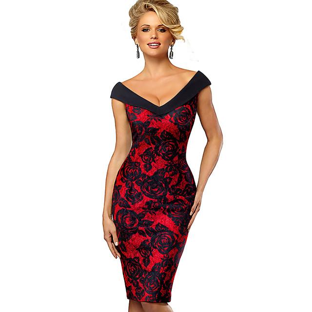 Women's Bodycon Knee Length Dress Red Wine Green Sleeveless Color Block Patchwork Print Sweetheart Neckline Off Shoulder Elegant Sophisticated S M L XL XXL