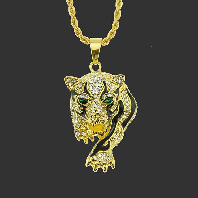 Bărbați Coliere cu Pandativ Colier lung, Clasic Tigru Design Unic Modă Placat Auriu Crom Auriu Argintiu Şoim Leopardul de Aur Leopard de argint 75 cm Coliere Bijuterii 1 buc Pentru Stradă