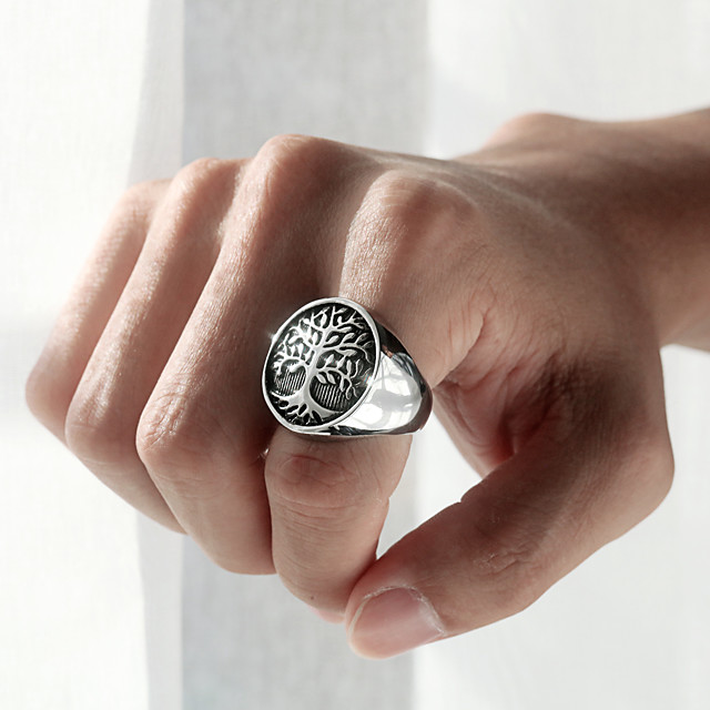 Band Ring Perinteinen Hopea Ruostumaton teräs Elämän puu Tyylikäs muodikas 1kpl 7 8 9 10 11 / Miesten