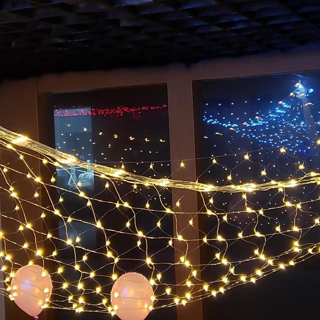 Led 그물 조명 192 leds 3mx2m 야외 방수 문자열 조명 크리스마스 웨딩 장식 요정 문자열 빛 야외 장식 램프 홈 장식 인테리어 장식