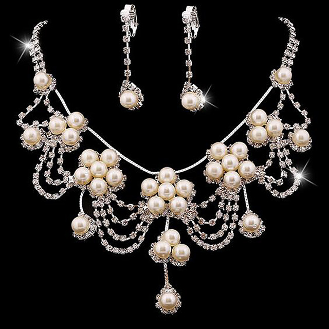 Women's Jewelry Set Bridal Jewelry Sets Tassel Fringe Precious Fashion Imitation Pearl Silver Plated Earrings Jewelry White For Christmas Wedding Halloween Party Evening Gift 1 set
