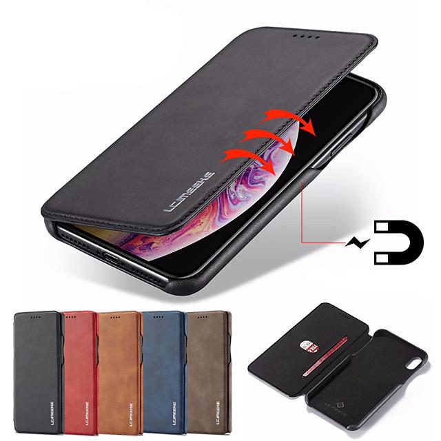 téléphone Coque Pour Apple Coque Intégrale Étui en cuir Wallet iPhone 12 Pro Max 11 SE 2020 X XR XS Max 8 7 6 Portefeuille Porte Carte Avec Support Couleur Pleine faux cuir PC