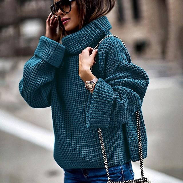 여성용 솔리드 풀오버 긴 소매 루즈핏 스웨터 가디건 터틀넥 가을 겨울 블랙 푸른 브라운