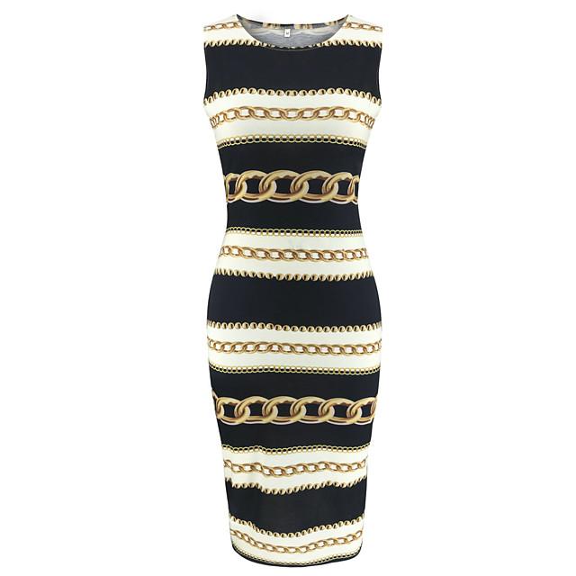 نسائي فستان شيث أسود بدون كم ألوان متناوبة طباعة رقبة دائرية أساسي S M L XL