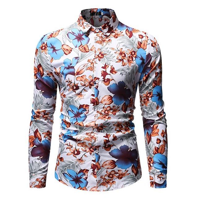 남성용 셔츠 그래픽 기하학 플로럴 프린트 긴 소매 캐쥬얼 탑스 빈티지 스트리트 쉬크 푸른 루비